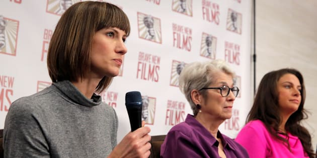 """(L-R) Rachel Crooks, a former receptionist in Trump Tower in 2005, Jessica Leeds and Samantha Holvey, a former Miss North Carolina, attend a news conference for the film """"16 Women and Donald Trump"""" which focuses on women who have publicly accused President Trump of sexual misconduct, in Manhattan, New York, U.S., December 11, 2017."""
