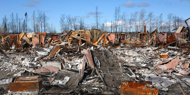 The devastation from the fires is seen in Fort McMurray, Alberta on June 3, 2016. (PHOTO: COLE BURSTON/AFP/Getty Images)