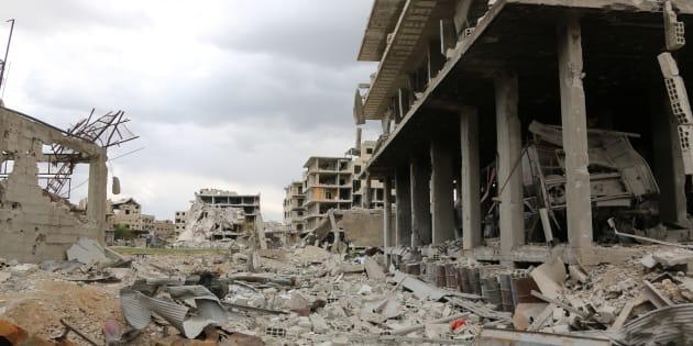 Saqba, une ville anciennement détenue par les rebelles dans la région de la Ghouta en Syrie, le 10 avril 2018.