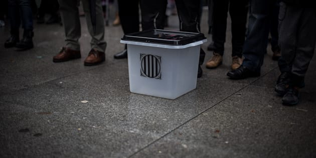 Una urna usada en el referéndum del 1-O, en una imagen de archivo.