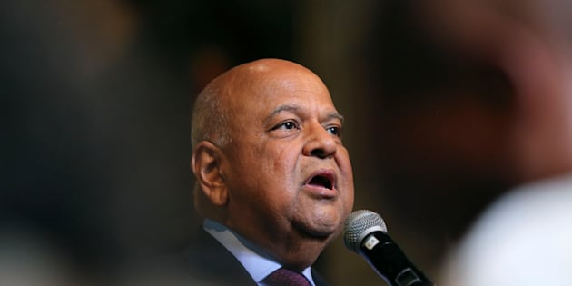 Former South African Finance Minister Pravin Gordhan addresses a memorial service for anti-apartheid veteran Ahmed Kathrada in Cape Town, South Africa April 6, 2017.