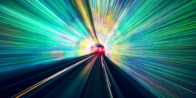 Abstract blurred tunnel with light