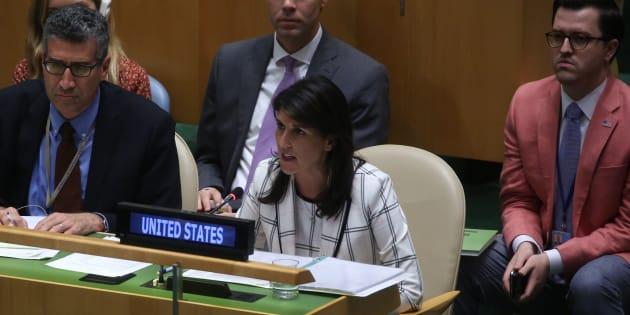 L'ambassadrice américaine Nikki Haley à l'ONU à New York le 13 juin 2018.