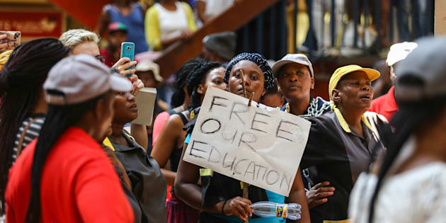 A group of the #FeesMustFall supporters at Wits University in Johannesburg protest in April 2016 over students losing out on state funding.