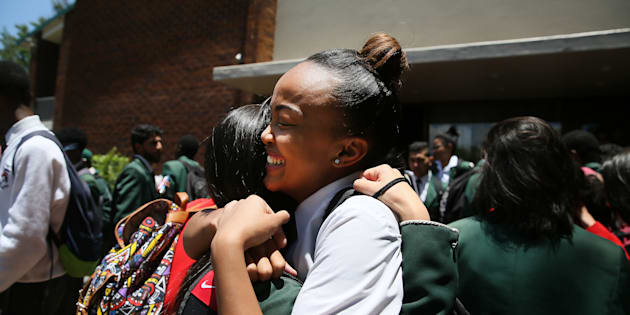 JOHANNESBURG, SOUTH AFRICA � NOVEMBER 28: Matric pupils Roxanne celebrate with each other after completing final exams on November 28, 2016 in Johannesburg, South Africa. Greenside High School matric pupils celebrated outside the school premises after they wrote their final exam paper, Afrikaans. (Photo by Gallo Images / The Times / Alon Skuy)
