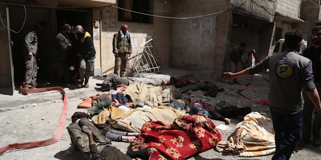 Dead bodies of Syrians are seen after Assad regime forces allegedly conducted poisonous gas attack to Douma town of Eastern Ghouta in Damascus, Syria.