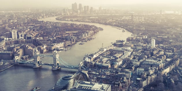 View from the Shard of Tower Bridge, Canary Wharf and the river Thames, UK