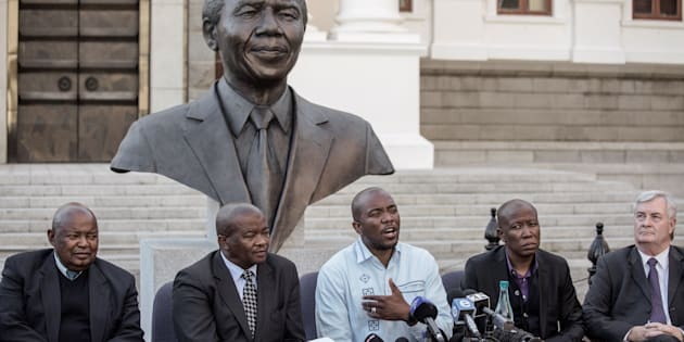 South African opposition Parties leaders give a press conference on August 7, 2017 at the South African Parliament in Cape Town.