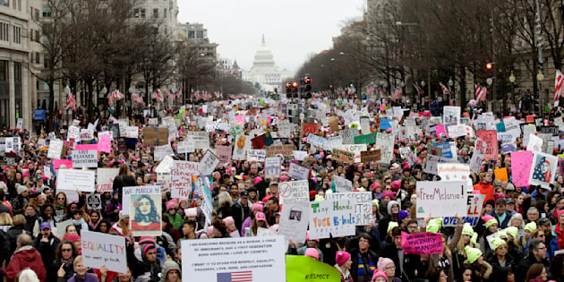 WASHINGTON, DC - JANUARY 21:  Protestors make their way to the rally at the Women's March On Washington on January 21, 2017 in Washington, DC.  (Photo by Tasos Katopodis/Getty Images)