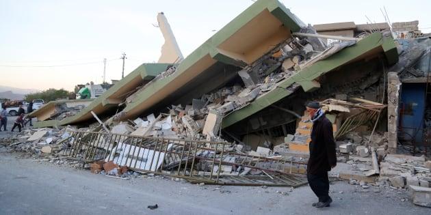 Une maison effondrée après le séisme dans le nord de l'Irak, à Souleimaniyeh, le 13 novembre.