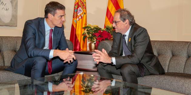 Imagen de archivo de la reunión mantenida por Pedro Sánchez y Quim Torra en septiembre.