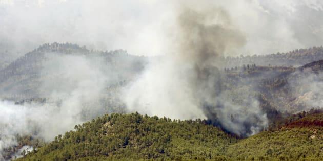 Vista del incendio de Yeste (Albacete).