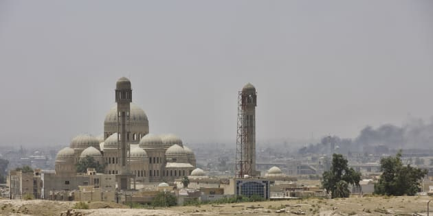 Great Mosque of al-Nuri with its leaning minaret from where Abu Bakr al-Baghdadi declared a caliphate in 2014. Mosul, Iraq, 14 June 2017