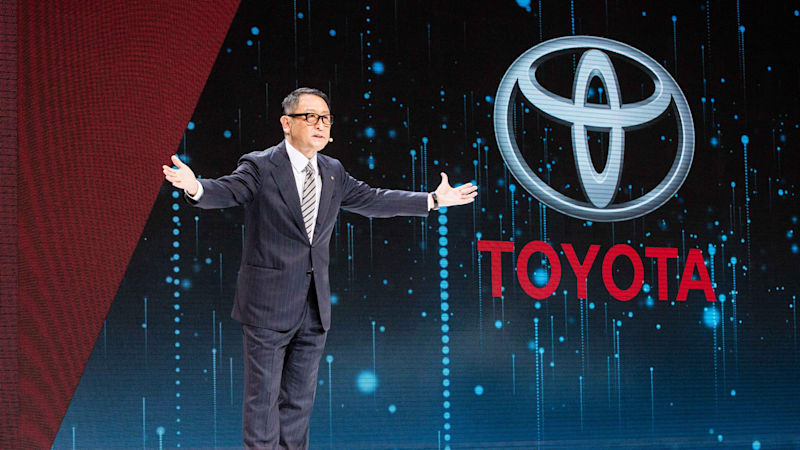 president-and-ceo-of-toyota-motor-corporation-akio-toyoda-delivers-a-picture-id611846806