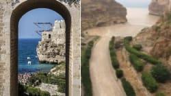 La spiaggia più famosa di Polignano a Mare è stata travolta da un fiume di fango e ora è