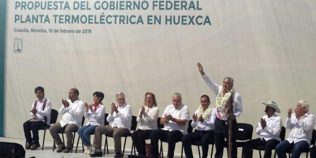 """El presidente López Obrador presentó la """"Propuesta del gobierno federal Planta Termoeléctrica en Huexca"""", que consiste en una consulta pública en los estados de Morelos, Tlaxcala y Puebla los días 23 y 24 de febrero."""