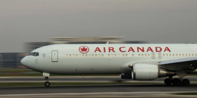 An Air Canada airplane takes off at Toronto Pearson International Airport on May 13, 2017.