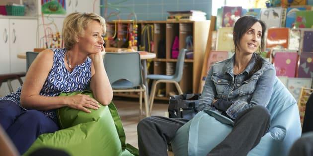 "Sarah McVie and Catherine Reitman in Season 2 of ""Workin' Moms."""