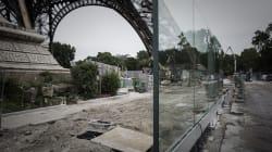 Les premières images de la barrière de verre installée autour de la Tour