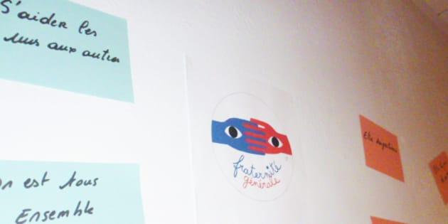 """Un aperçu du """"mur parlant"""" de la fraternité illustré par les élèves du collège Pablo Picasso de Saint-Etienne du Rouvray"""