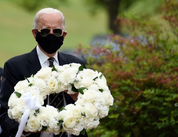 Joe Biden lays wreath at veterans park