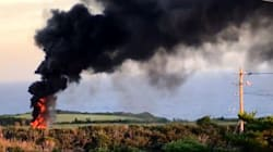 米軍ヘリ、不時着後炎上か 沖縄・東村