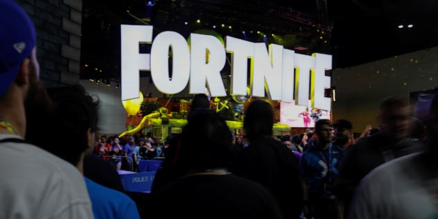 The Fortnite booth is shown at E3, the world's largest video game industry convention in Los Angeles on June 12, 2018.