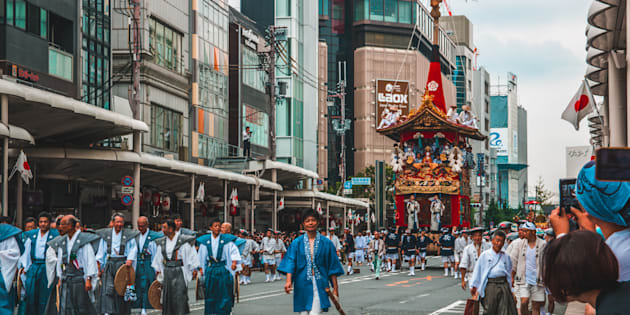 KYOTO, JAPAN - JULY 17, 2017: Gion Matsuri Floats are wheeled through the city in Japans most famous festival.