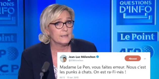 """""""La France insoumise et ses punks à chiens"""": Mélenchon répond avec humour à cette attaque de Le Pen."""