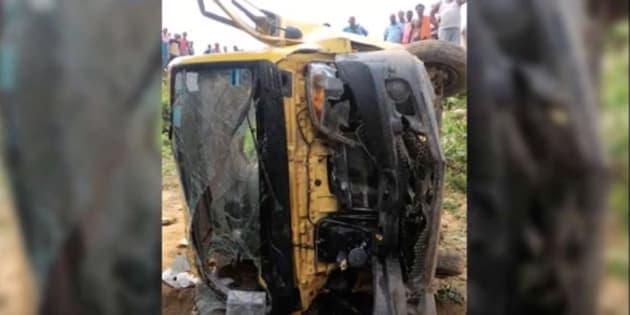 School van collided with train in Uttar Pradesh.