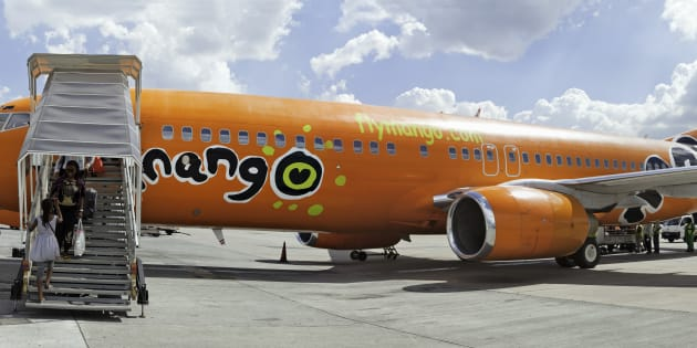 A Mango Airline Boeing B737 parked at OR Tambo airport.