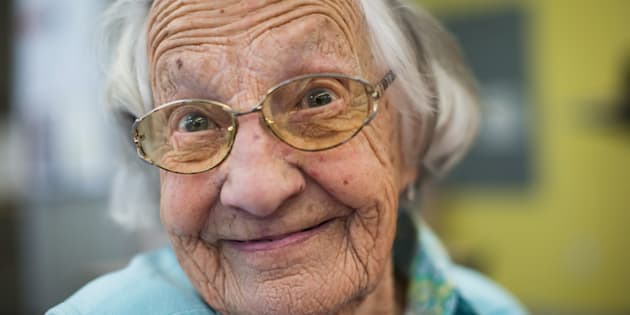 Beatrice Janyk, 95, smiles after donating blood at Canada Blood Services in Vancouver on April 18, 2018.