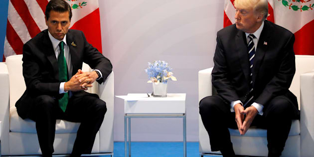 El presidente de EU Donald Trump, se reúne con el presidente de México, Enrique Peña Nieto, durante la reunión bilateral en la cumbre del G20 en Hamburgo, Alemania.