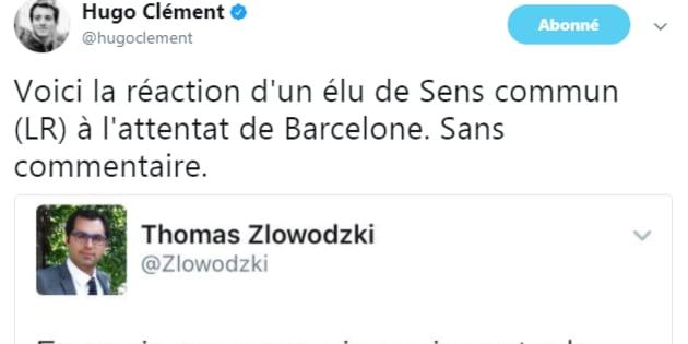 Le tweet d'Hugo Clément, dénonçant la réaction d'un élu de Sens commun.
