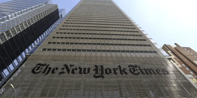 The facade and logo of the New York Times newspaper are pictured on April 13, 2018 in New York City.