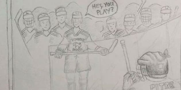 TSN's James Duthie shared this drawing depicting players from the Humboldt Broncos junior hockey team inviting Jonathan Pitre, a 17-year-old Ottawa boy who died from a rare disease, to play with them. A day later, Kerry MacGregor, a Canadian author living in France, identified herself as the piece's creator.