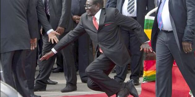 In 2015  Robert Mugabe toppled on the red carpet on the way to his car after speaking to supporters from a podium in Harare.