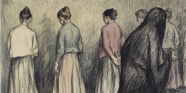 Ouvrières sous la surveillance d'une religieuse, dessin d'Aristide Delannoy, L'Assiette au beurre, 1901