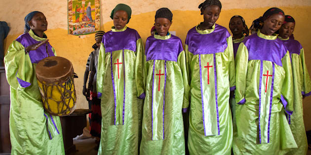 Borana women during sunday church service, Oromia, Yabelo, Ethiopia on March 5, 2017 in Yabelo, Ethiopia.