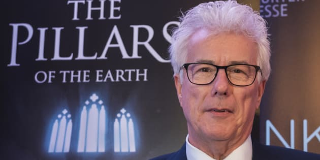 El escritor Ken Follett en la presentación del videojuego de 'Los pilares de la tierra' en la Feria del Libro de Frankfurt en octubre de 2015.