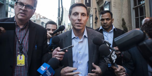 Patrick Brown speaks to media following a meeting at the Conservative Party headquarters in Toronto on Feb. 16, 2018.