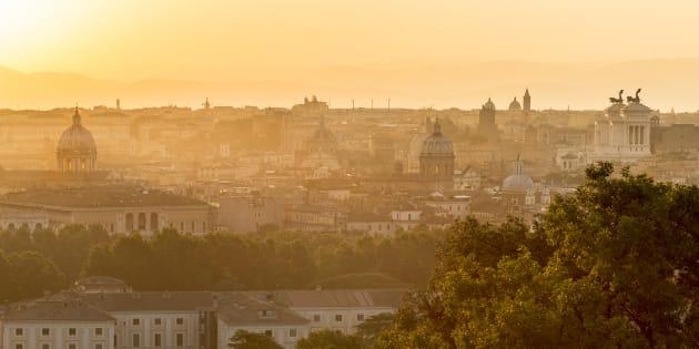 Roma vista dal gianicolo all'alba