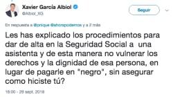 El aplaudido 'corte' de Echenique a Albiol por este tuit sobre su