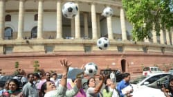 MPs Have A Jolly Good Time Playing With Footballs Outside