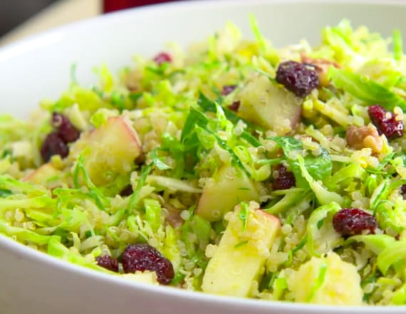 Shaved Brussels sprouts, quinoa and apple salad