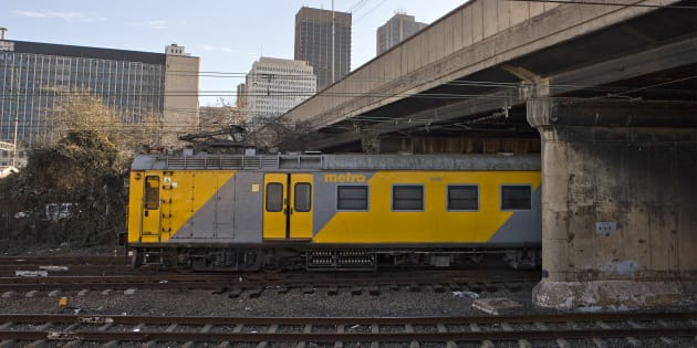 Metro Train in inner-city Johannesburg, South Africa.
