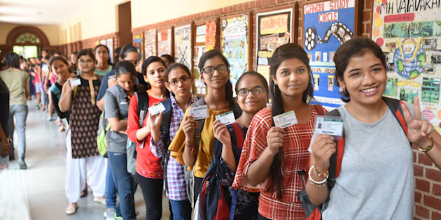 Students wait to cast their vote in the DUSU polls on 12 September.