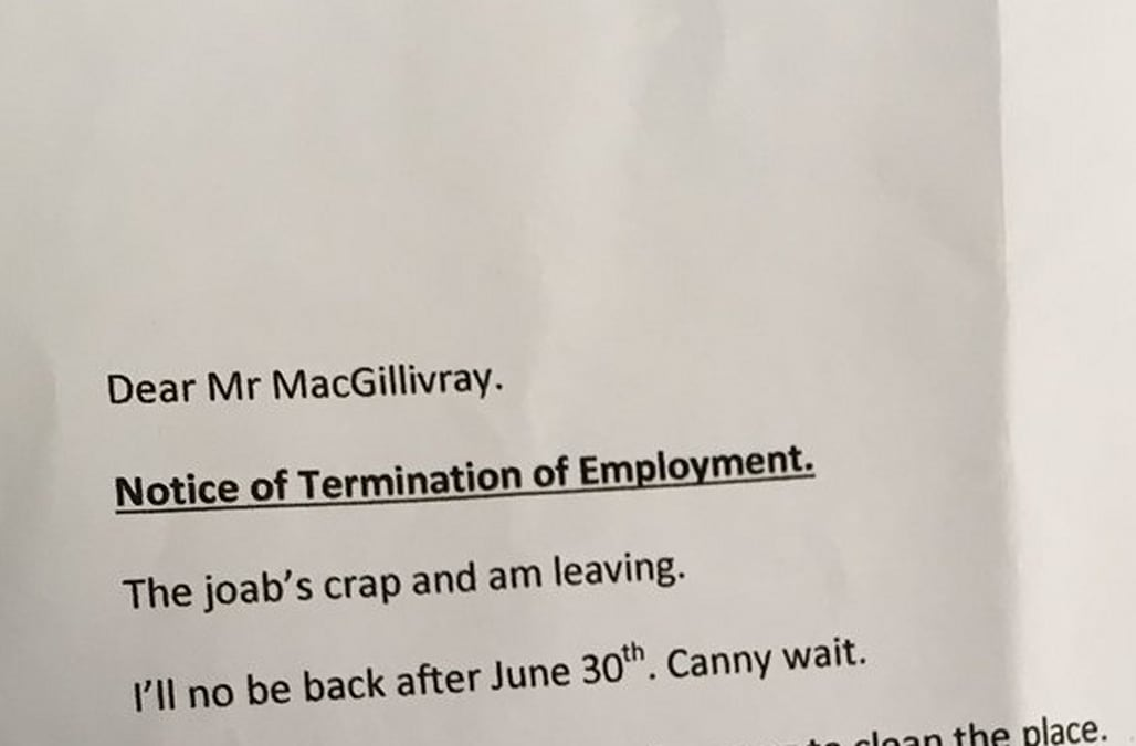 Grandma resigns from her job with hilarious curt letter aol finance typically when you leave a job you hand in a resignation letter and two weeks notice one scottish grandma gave her termination and obviously didnt spiritdancerdesigns Image collections