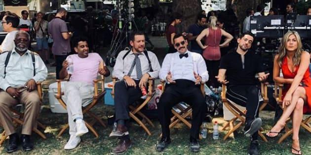 "Les acteurs du prochain film Murder Mistery"", de gauche à droite : John Kani, Adeel Akhtar, Dany Boon, Adam Sandler,  Luis Girardo Mendes et Jennifer Aniston"