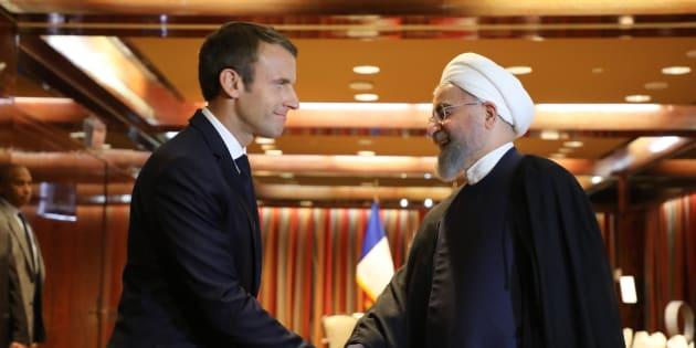 Emmanuel Macron et Hassan Rohani lors d'une rencontre à New York en 2017.
